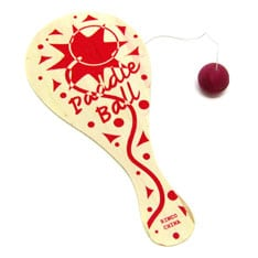 Wooden paddle ball toy