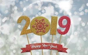"""Sign that reads """"2019 Happy New Year"""" in red and gold"""