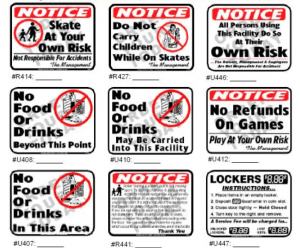 examples of skating rink signs