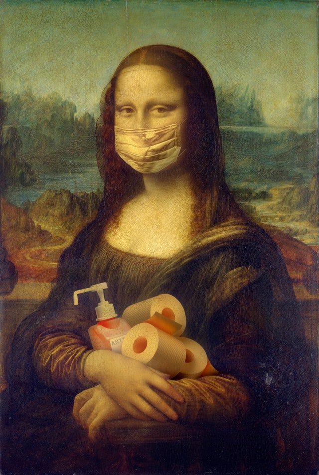 Pandemic Mona Lisa with soap and toilet paper